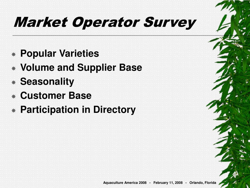 Market Operator Survey