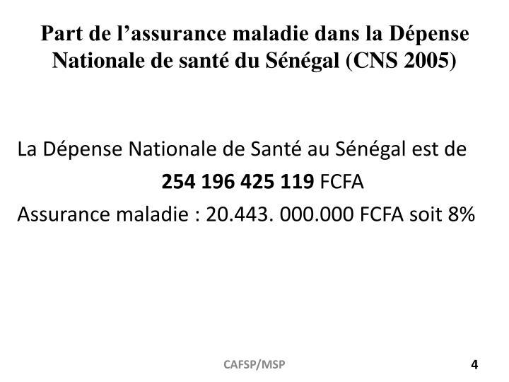 Part de l'assurance maladie dans la Dépense Nationale de santé du Sénégal (CNS 2005)