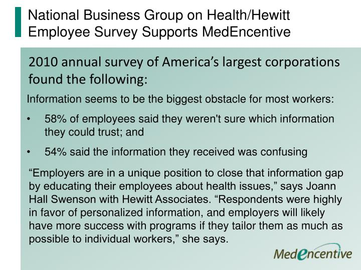 National Business Group on Health/Hewitt Employee Survey Supports MedEncentive