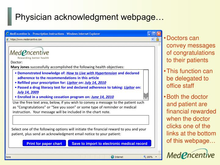Physician acknowledgment webpage…