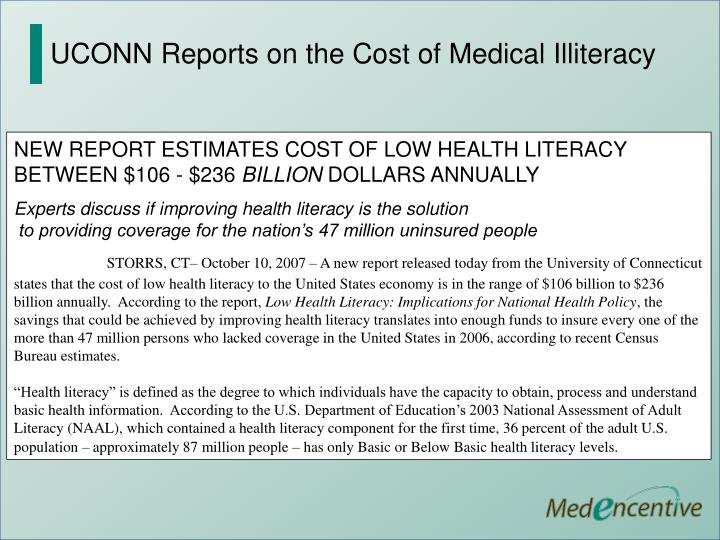 UCONN Reports on the Cost of Medical Illiteracy