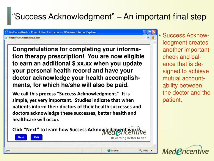 """Success Acknowledgment"" – An important final step"