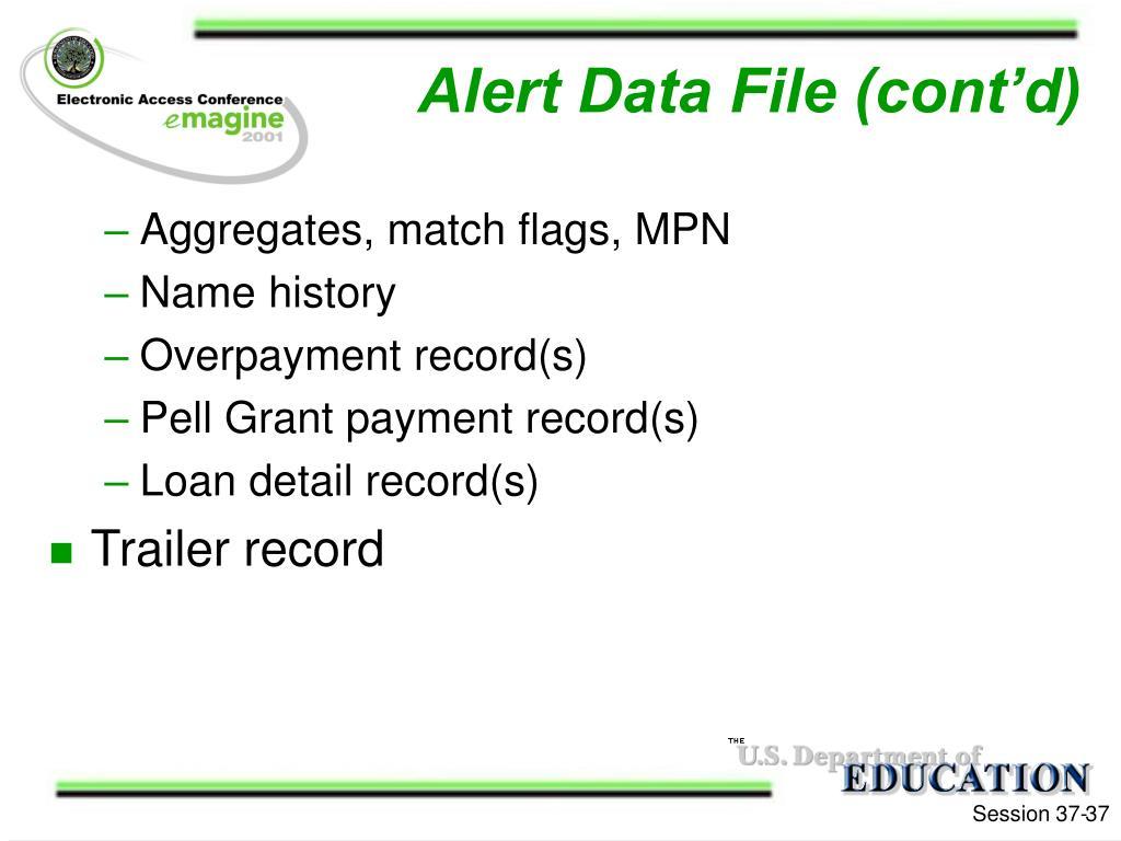 Alert Data File (cont'd)