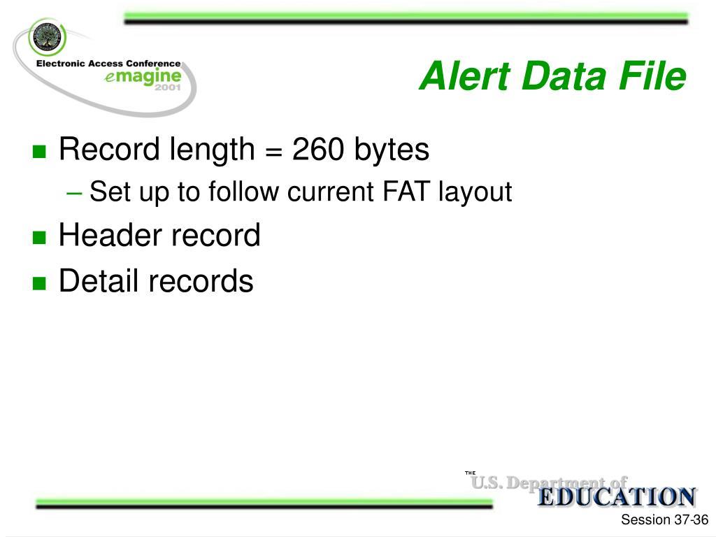 Alert Data File