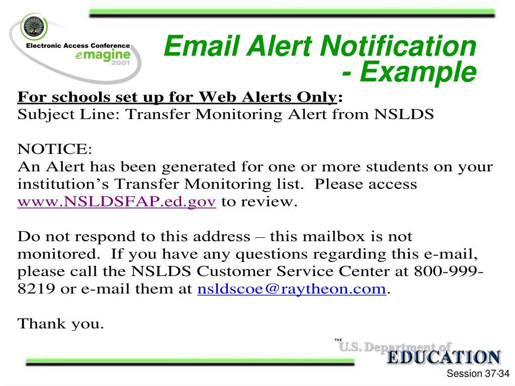 Email Alert Notification