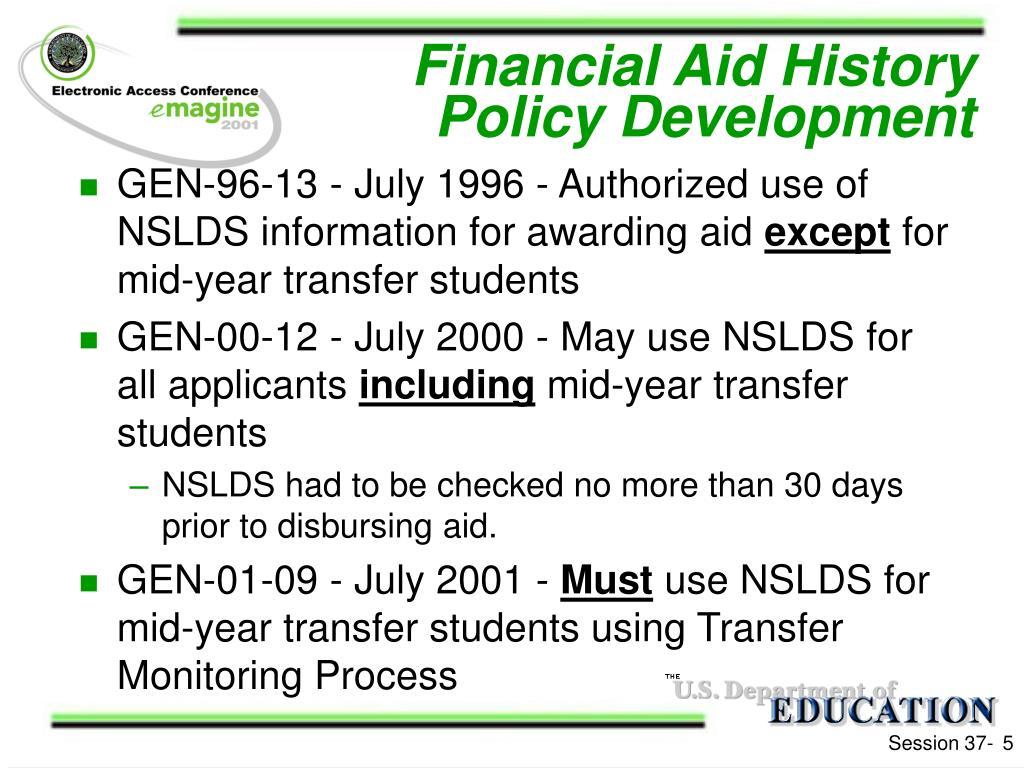 Financial Aid History