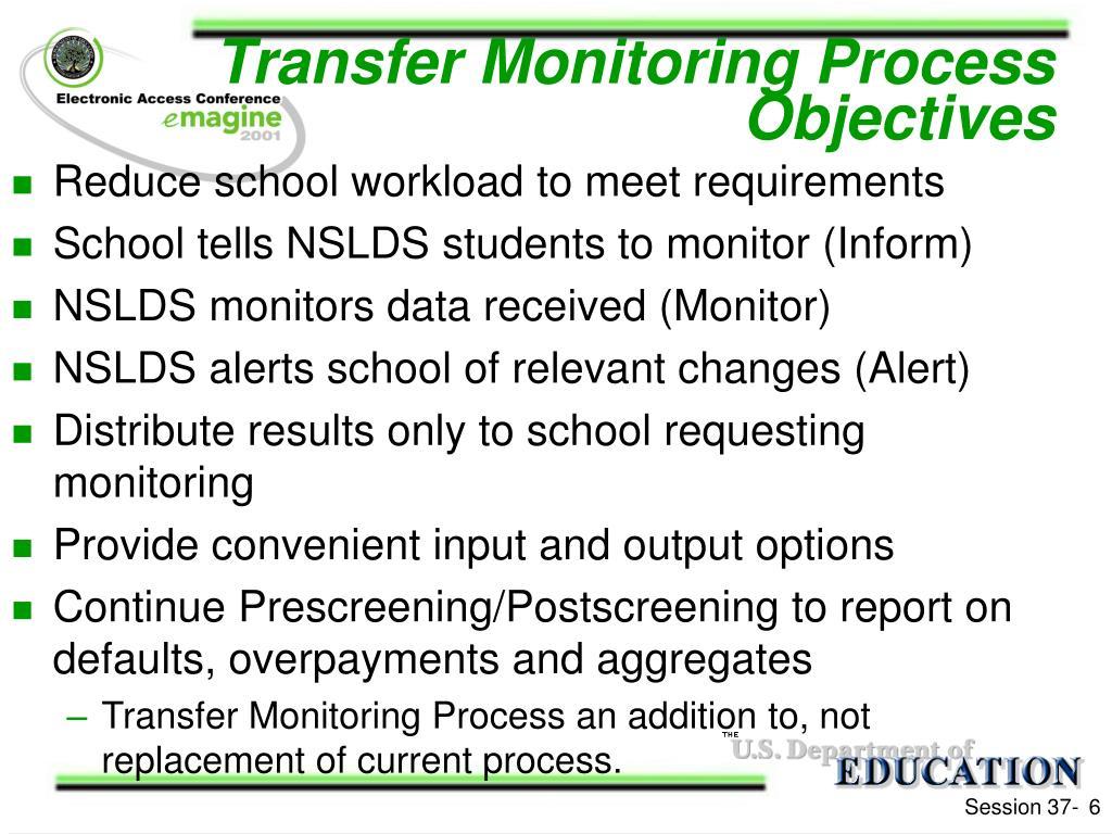 Transfer Monitoring Process Objectives