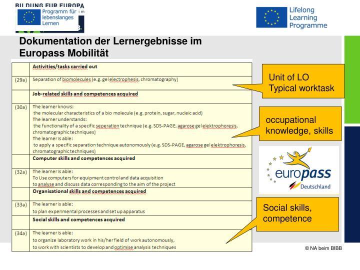 Dokumentation der Lernergebnisse im Europass Mobilität