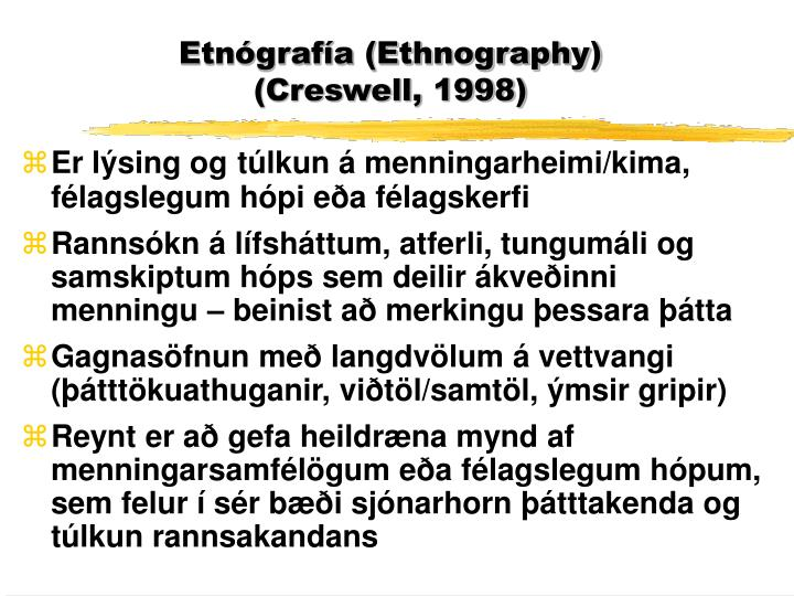Etnógrafía (Ethnography)