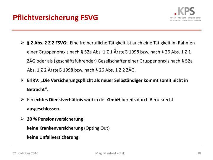 Pflichtversicherung FSVG
