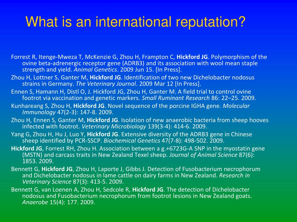 What is an international reputation?