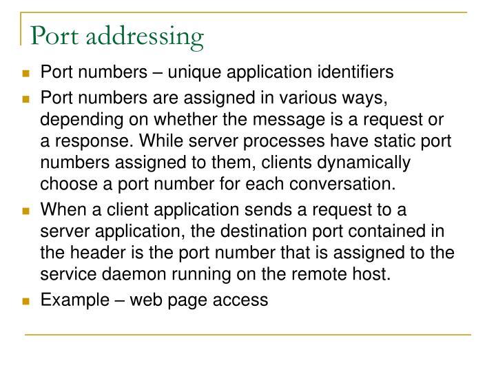 Port addressing