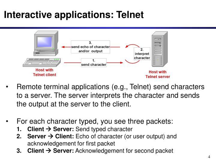Interactive applications: Telnet
