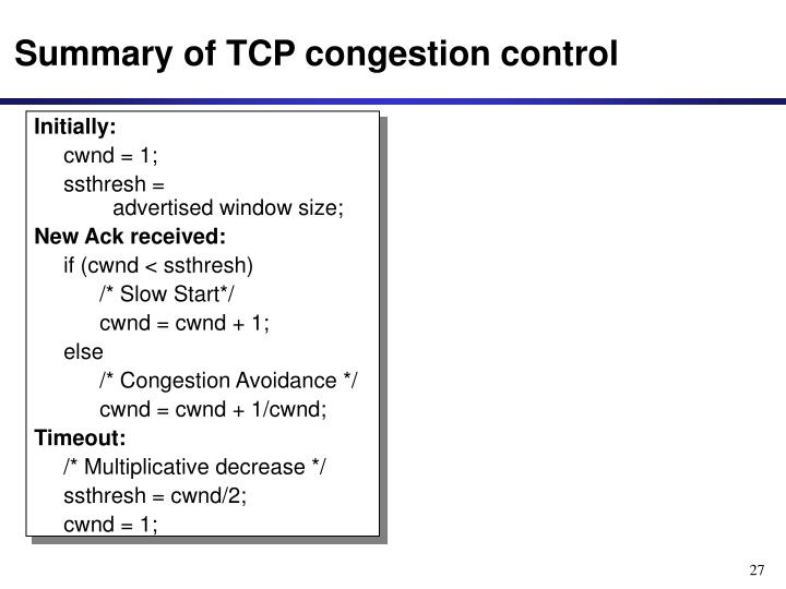 Summary of TCP congestion control