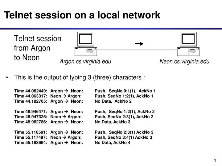 Telnet session on a local network