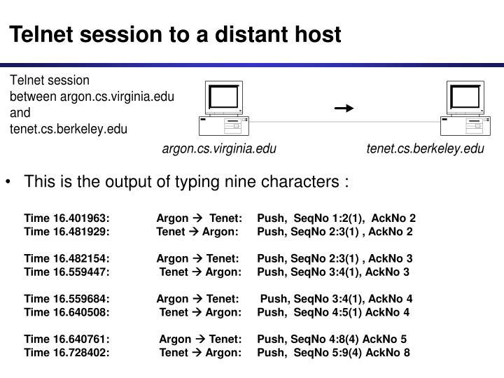 Telnet session to a distant host