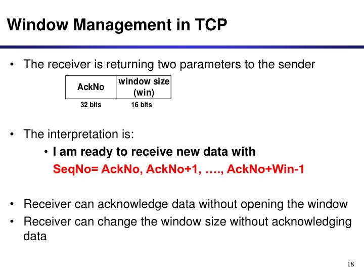 Window Management in TCP