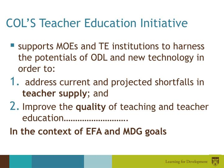 COL'S Teacher Education Initiative