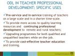odl in teacher professional development specific uses
