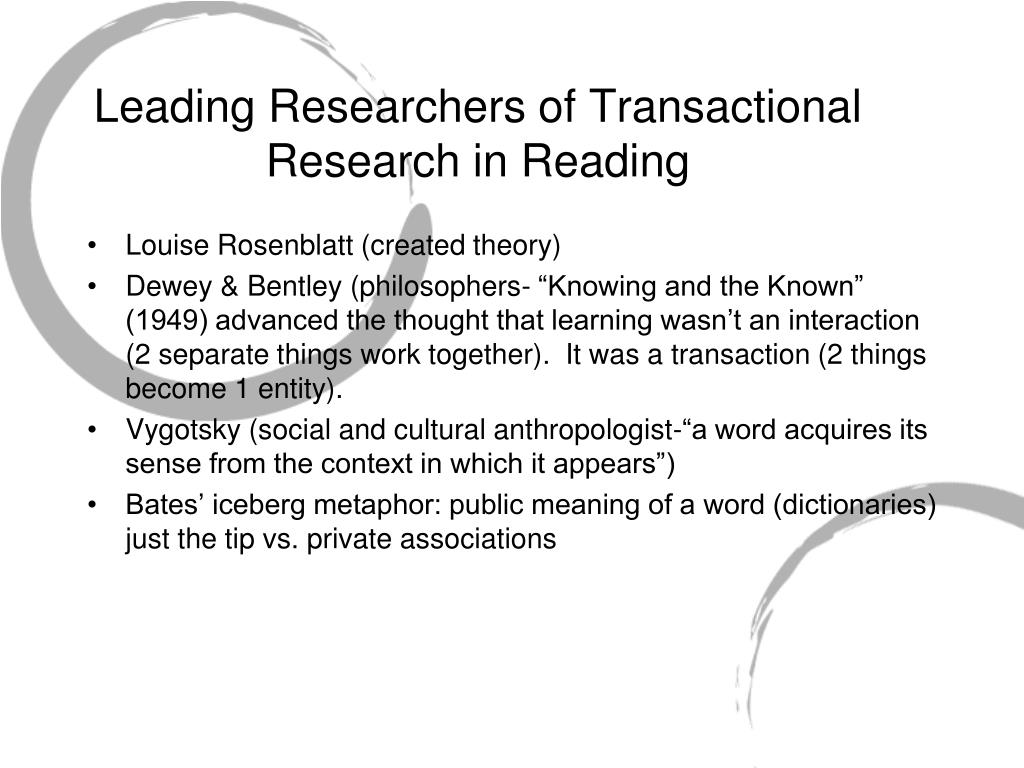 Leading Researchers of Transactional Research in Reading