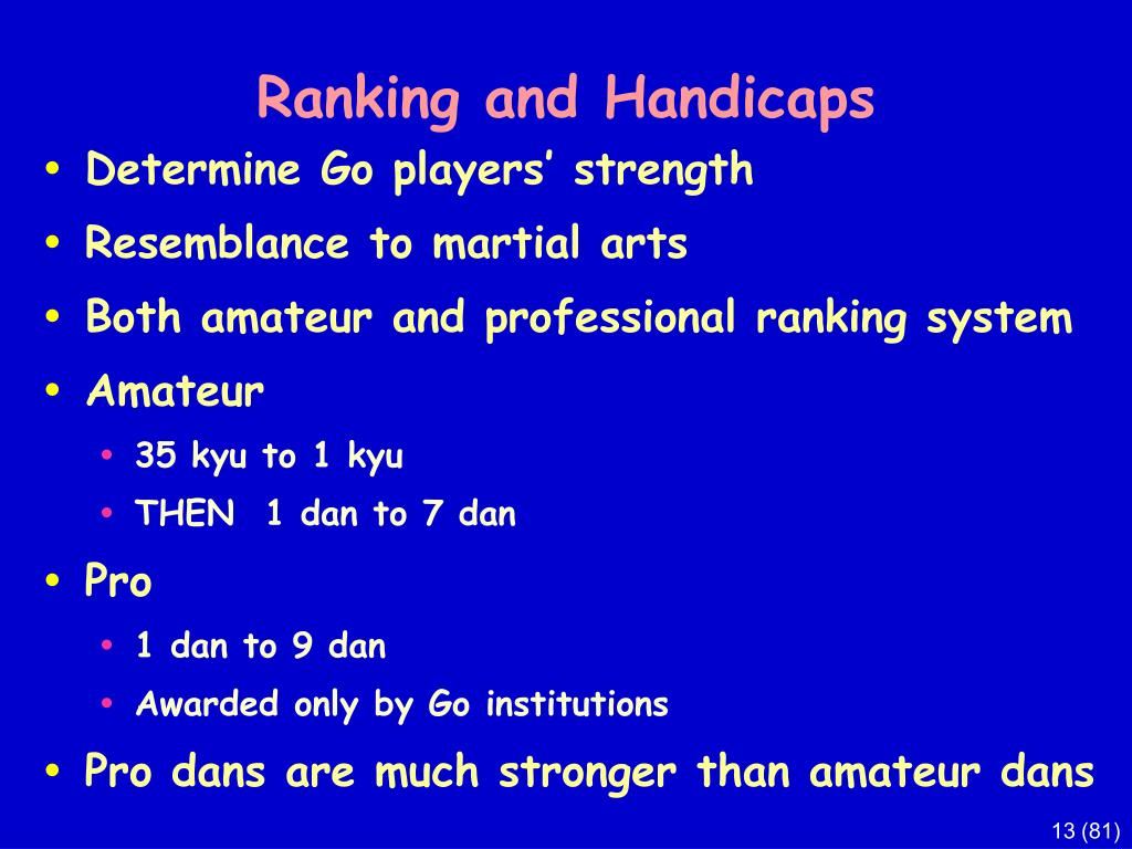 Ranking and Handicaps