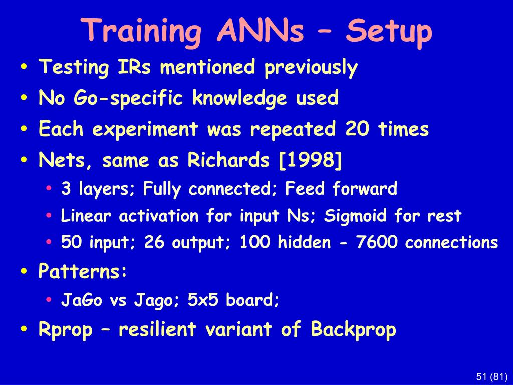 Training ANNs – Setup
