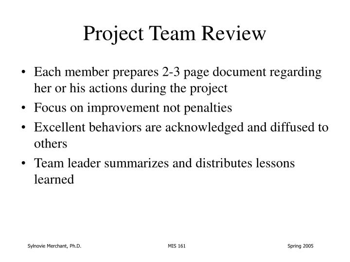 Project Team Review
