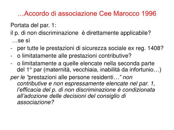 …Accordo di associazione Cee Marocco 1996