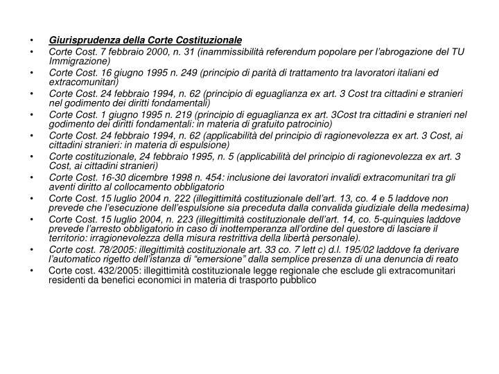 Giurisprudenza della Corte Costituzionale