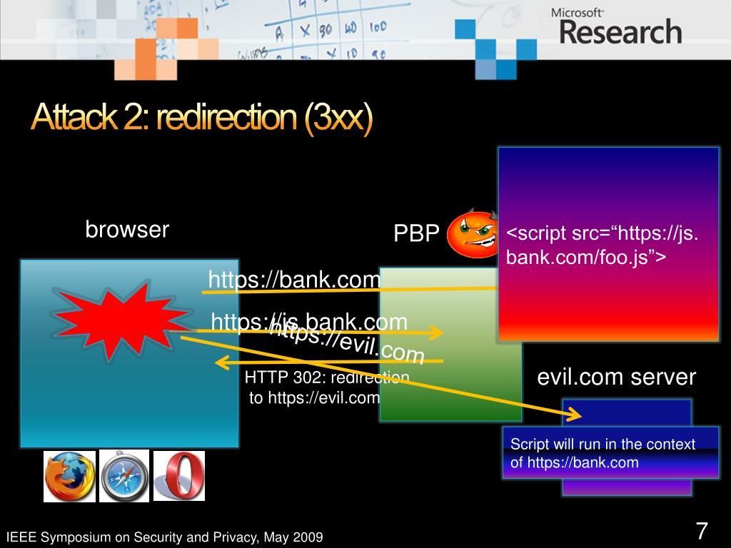 Attack 2: redirection (3xx)