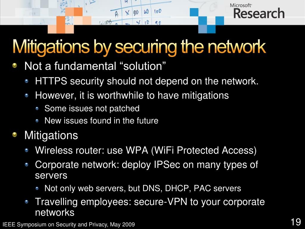 Mitigations by securing the network