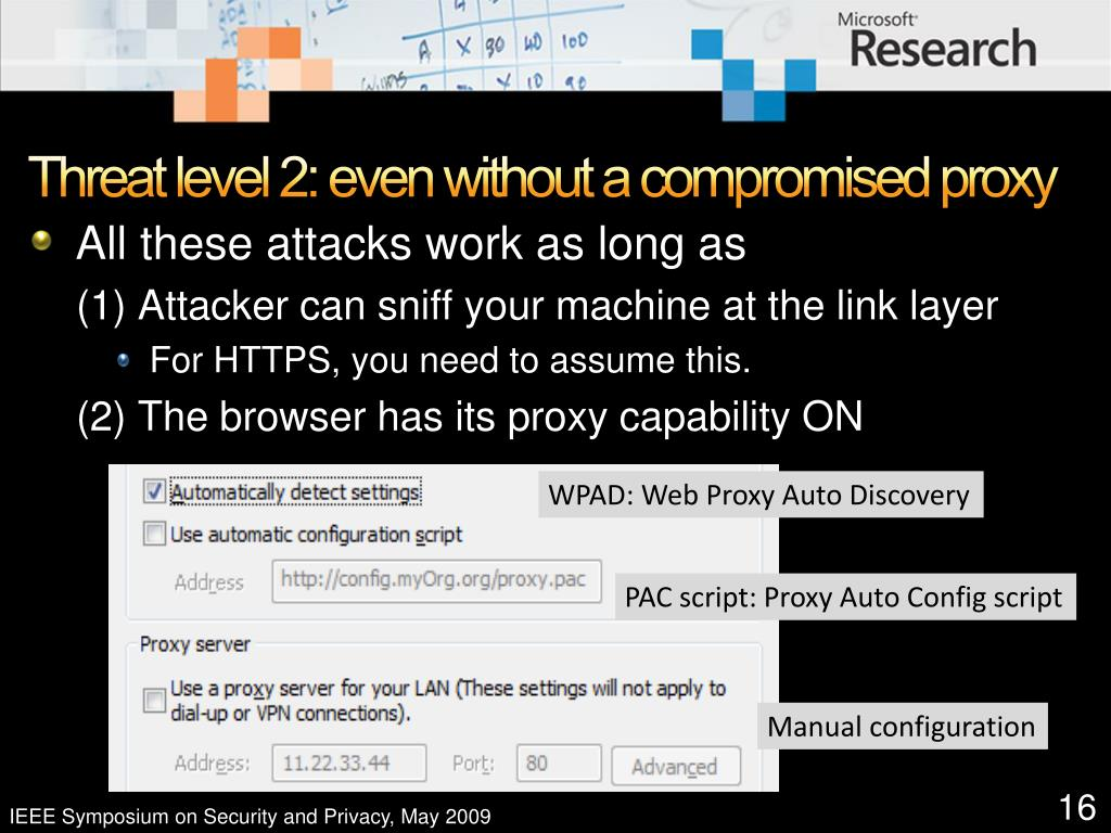 Threat level 2: even without a compromised proxy