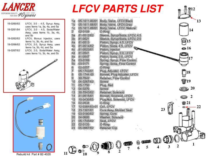 LFCV PARTS LIST