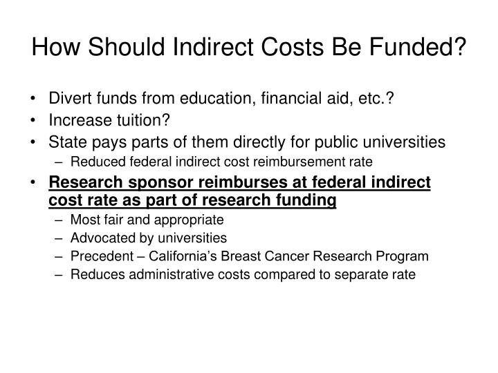 How Should Indirect Costs Be Funded?