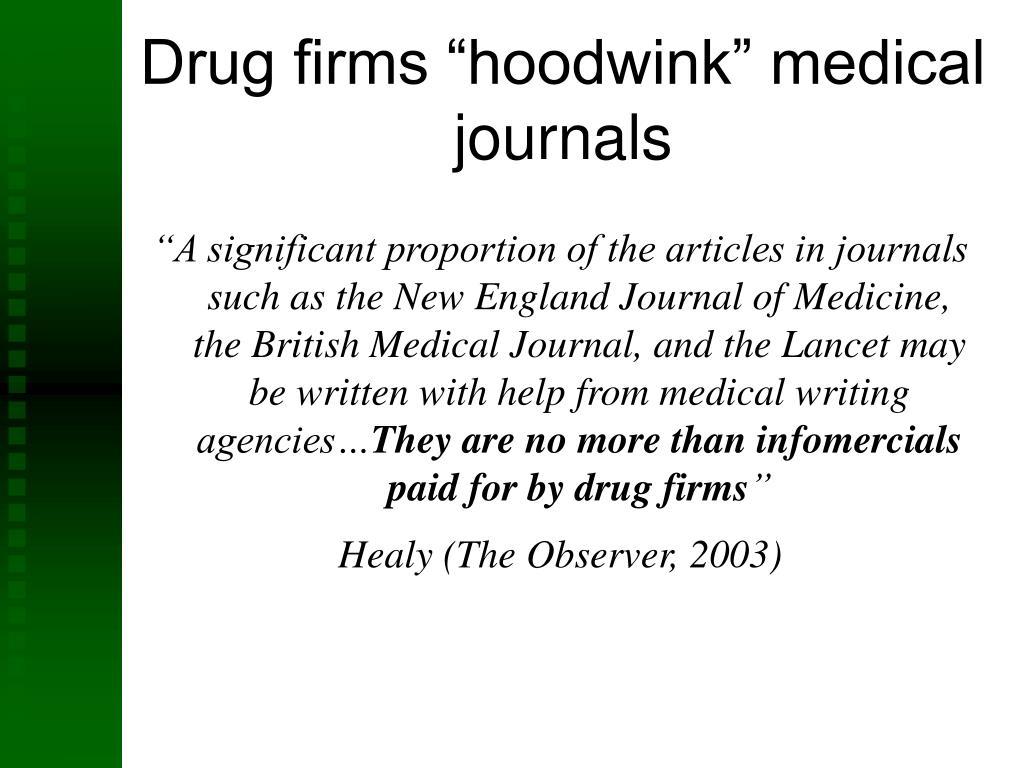 "Drug firms ""hoodwink"" medical journals"