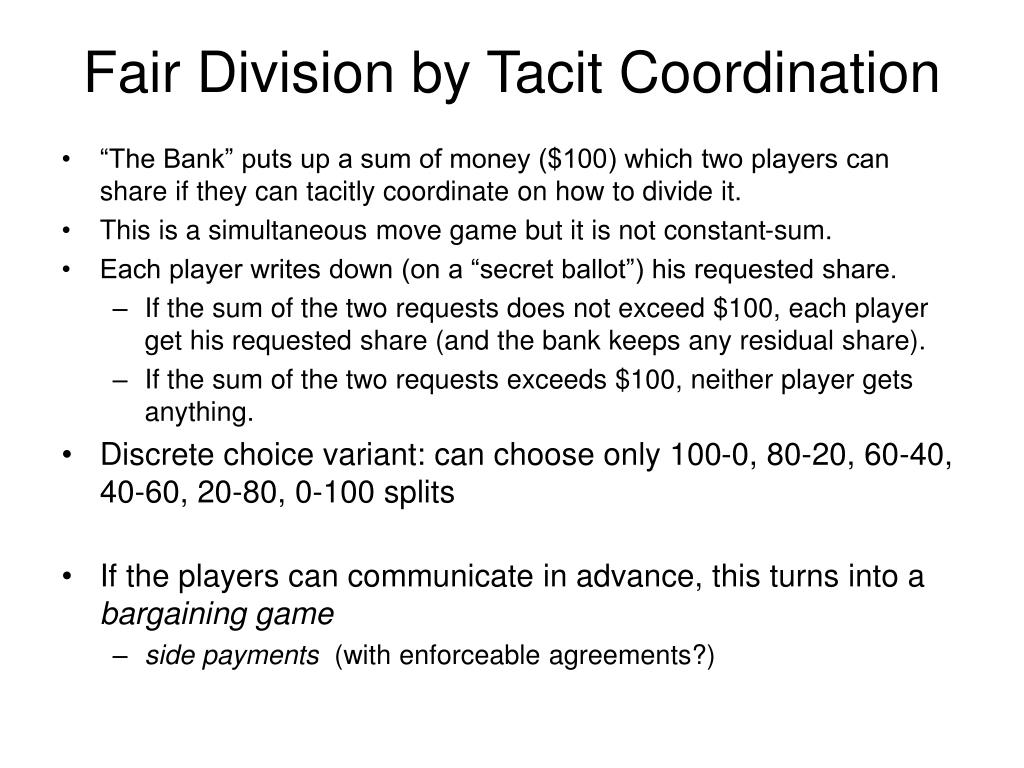 Fair Division by Tacit Coordination