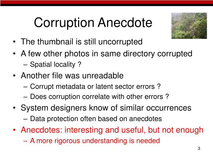 Corruption Anecdote
