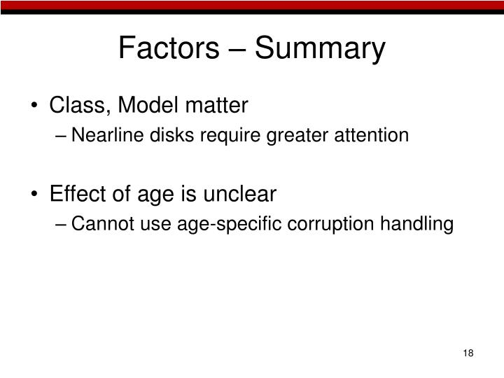 Factors – Summary