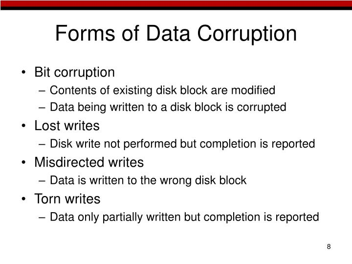 Forms of Data Corruption