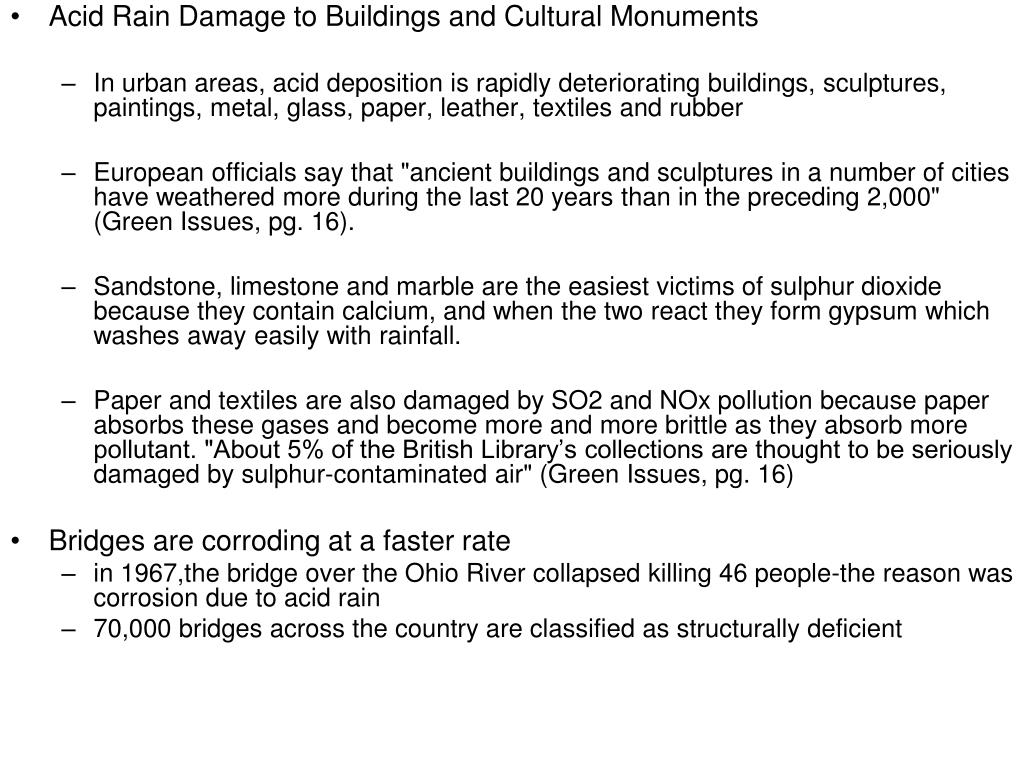 Acid Rain Damage to Buildings and Cultural Monuments