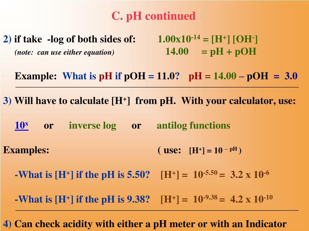 C. pH continued