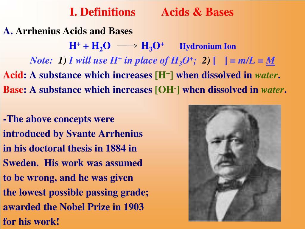I. DefinitionsAcids & Bases