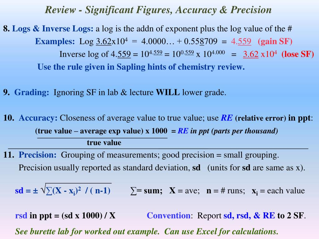 Review - Significant Figures, Accuracy & Precision