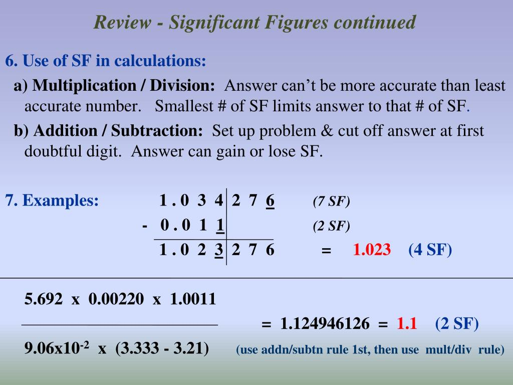 Review - Significant Figures continued