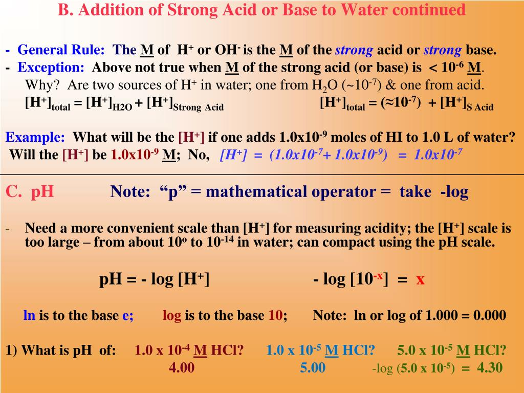 B. Addition of Strong Acid or Base to Water continued