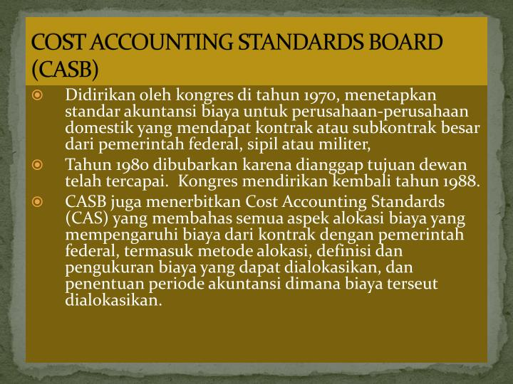 COST ACCOUNTING STANDARDS BOARD