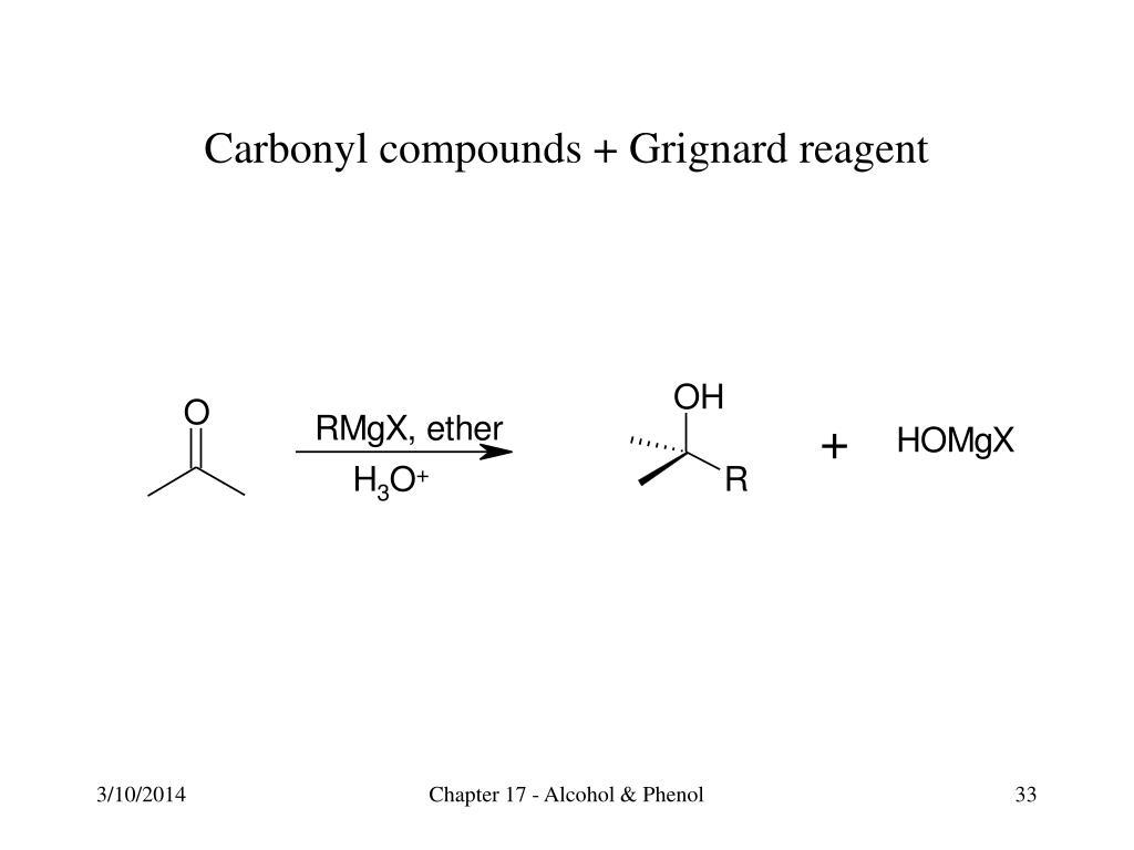 Carbonyl compounds + Grignard reagent
