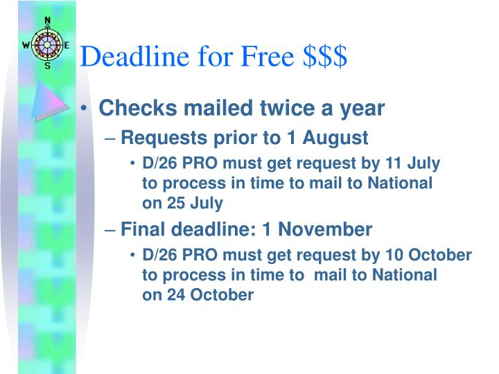 Deadline for Free $$$