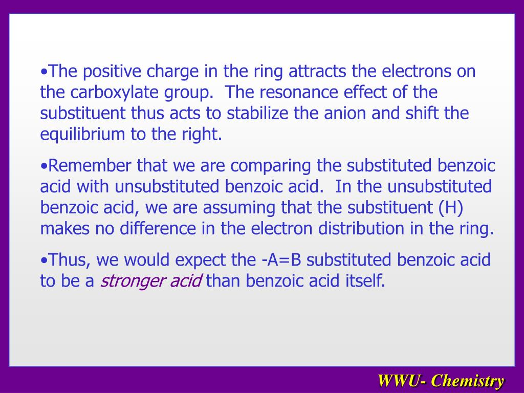 The positive charge in the ring attracts the electrons on the carboxylate group.  The resonance effect of the substituent thus acts to stabilize the anion and shift the equilibrium to the right.
