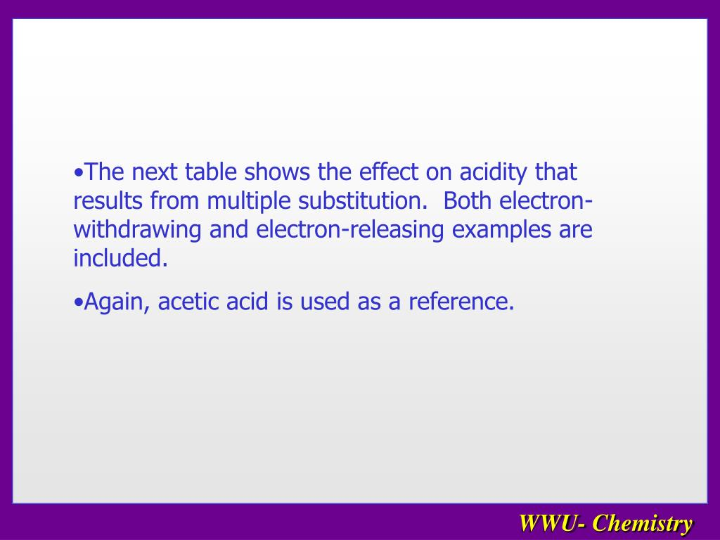 The next table shows the effect on acidity that results from multiple substitution.  Both electron-withdrawing and electron-releasing examples are included.